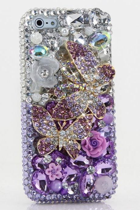 Bling Crystals Phone Case for iPhone 6 / 6s, iPhone 6 / 6s PLUS, iPhone 4, 5, 5S, 5C, Samsung Note 2, Note 3, Note 4, Galaxy S3, S4, S5, S6, S6 Edge, HTC ONE M9 (LAVENDER BUTTERFLY DESIGN ) By LuxAddiction