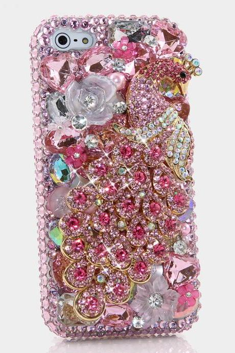 Bling Crystals Phone Case for iPhone 6 / 6s, iPhone 6 / 6s PLUS, iPhone 4, 5, 5S, 5C, Samsung Note 2, Note 3, Note 4, Galaxy S3, S4, S5, S6, S6 Edge, HTC ONE M9 (PINK PEACOCK DESIGN) By LuxAddiction