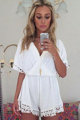 White Chiffon Plunge V Short Sleeved Romper Featuring Floral Lace Appliqués
