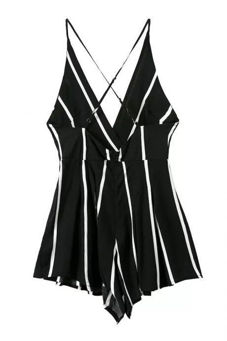 Plunge V-neck Vertical Striped Romper with an Open Back