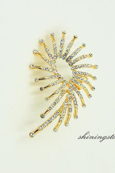 Fireworks rhinestone ear cuff with 14k gold plated, Elf ear cuff, Boho ear cuff , Rhinestone earring, Party earring, Performance jewelry,