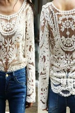 White Crochet Lace Blouse Oversize Loose Tops Shirt Long Sleeve