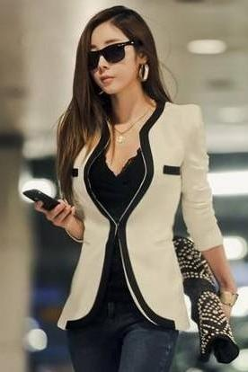 Black And White Long Sleeve Slim Blazer Outwear Jackets