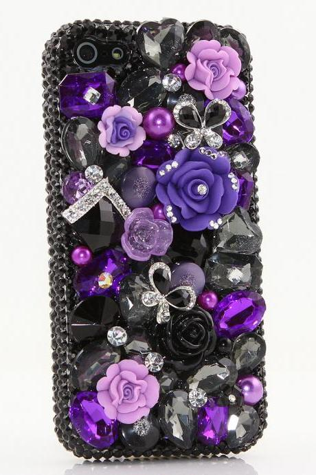 Bling Crystals Phone Case for iPhone 6 / 6s, iPhone 6 / 6s PLUS, iPhone 4, 5, 5S, 5C, Samsung Note 2, Note 3, Note 4, Galaxy S3, S4, S5, S6, S6 Edge, HTC ONE M9 (PURPLE POSIES DESIGN) By LuxAddiction
