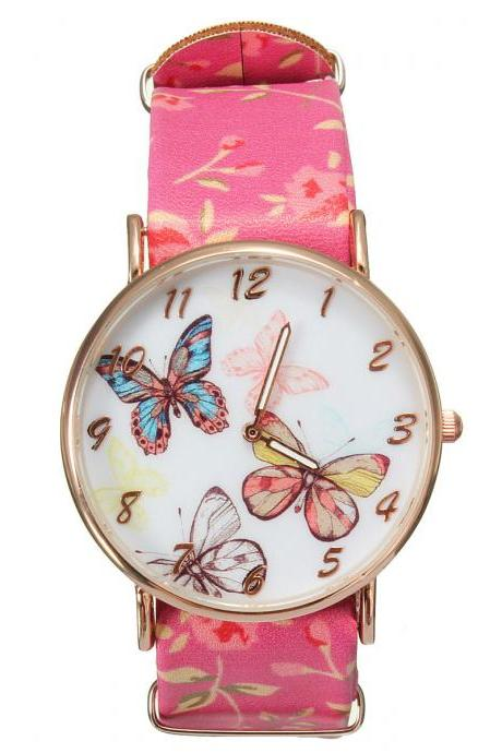 Butterfly watch, butterfly leather watch, hot pink bracelet watch, leather watch, bracelet watch, vintage watch, retro watch, woman watch, lady watch, girl watch, unisex watch, AP00311