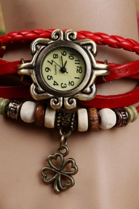 leaf watch, leaf leather watch, red bracelet watch, leather watch, bracelet watch, vintage watch, retro watch, woman watch, lady watch, girl watch, unisex watch, AP00318