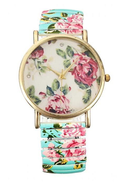 Flower watch, elastic band watch, bracelet watch, vintage watch, retro watch, woman watch, lady watch, girl watch, unisex watch, AP00333