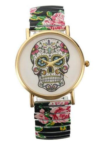 Skull watch, elastic band watch, bracelet watch, vintage watch, retro watch, woman watch, lady watch, girl watch, unisex watch, AP00336