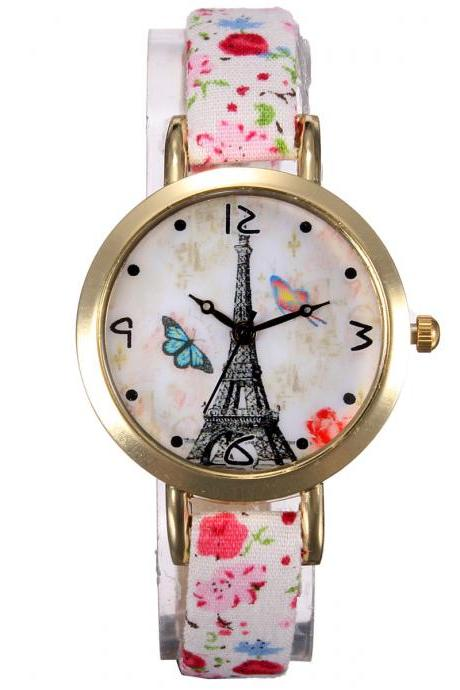 Eiffel Tower watch, thin leather band watch, bracelet watch, vintage watch, retro watch, woman watch, lady watch, girl watch, unisex watch, AP00350