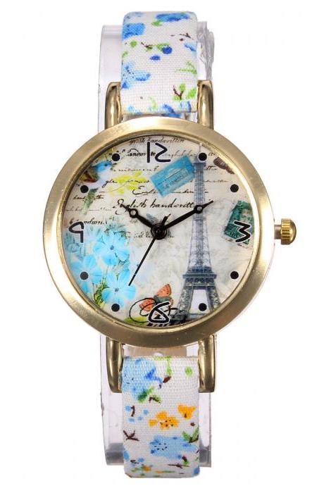 Eiffel Tower watch, thin leather band watch, bracelet watch, vintage watch, retro watch, woman watch, lady watch, girl watch, unisex watch, AP00351