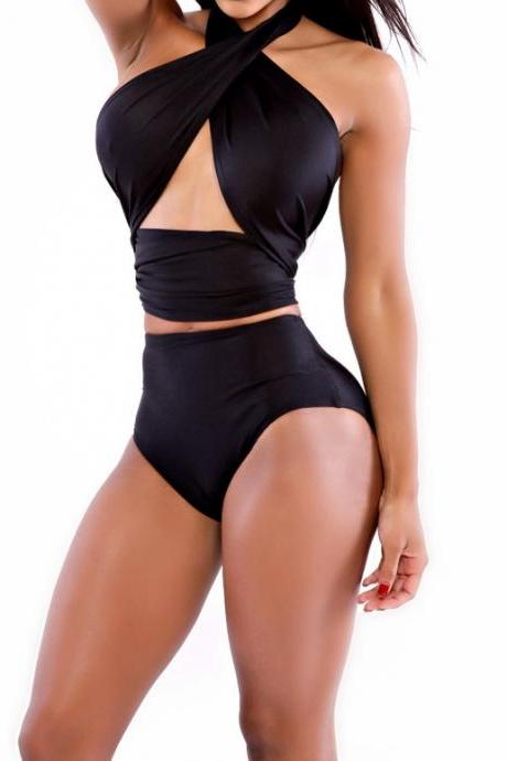 Sexy Crossed Halter Neck Open-Work Solid Black Bikini Swimwear(No Padding)