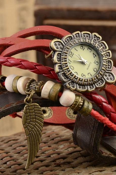 Feather watch, feather leather watch, red bracelet watch, leather watch, bracelet watch, vintage watch, retro watch, woman watch, lady watch, girl watch, unisex watch, AP00355