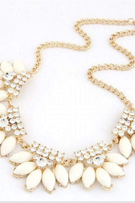 Statement water drops rhinestones white fashion necklace