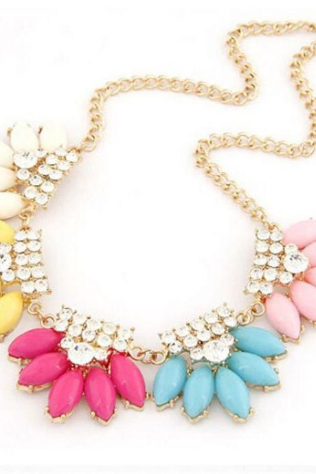 Statement water drops rhinestones colorful fashion necklace