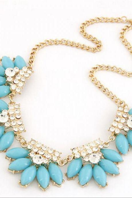 Statement water drops rhinestones blue fashion necklace