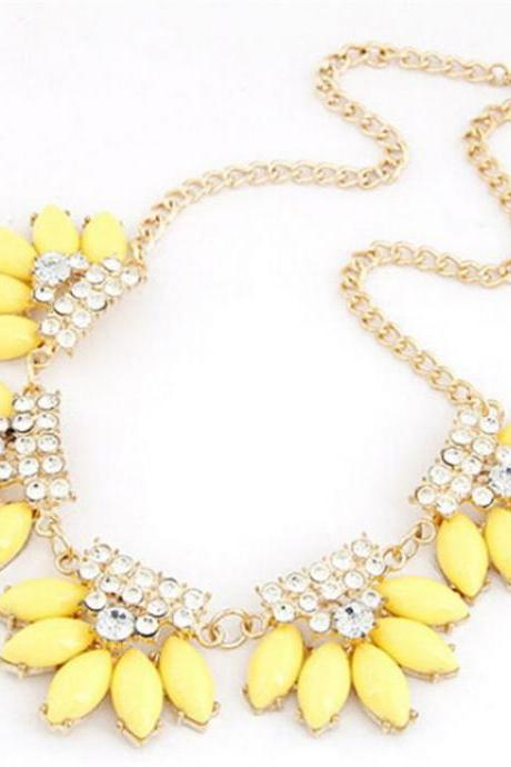 Statement water drops rhinestones yellow fashion necklace