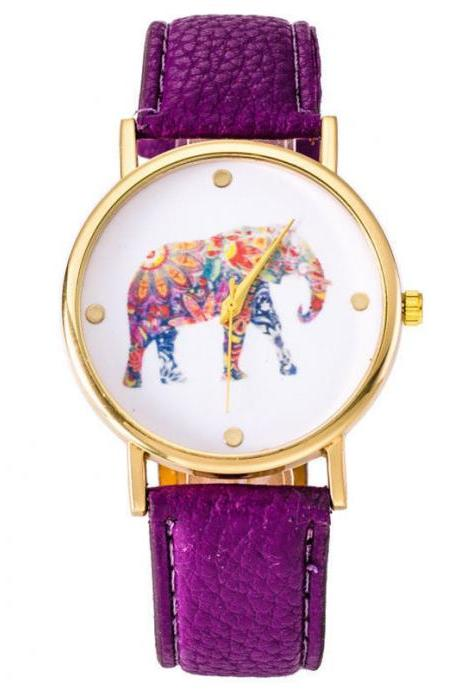 National wind women watch, elephant leather watch, purple watch, leather watch, bracelet watch, vintage watch, retro watch, woman watch, lady watch, girl watch, unisex watch, AP00372