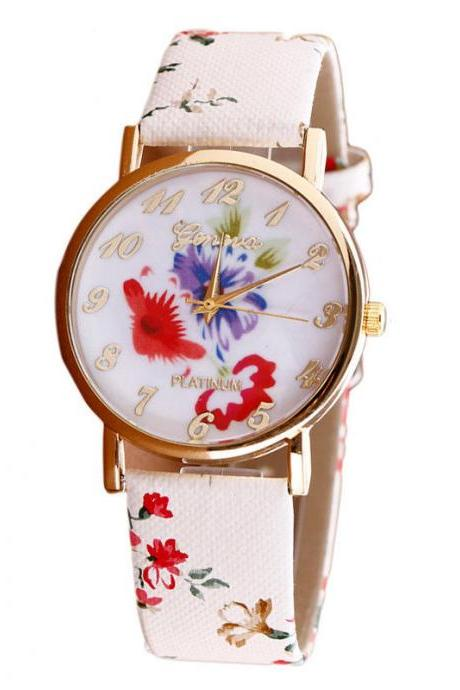 Flower leather band watch, bracelet watch, vintage watch, retro watch, woman watch, lady watch, girl watch, unisex watch, AP00381