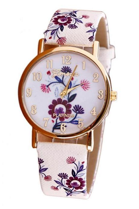Flower leather band watch, bracelet watch, vintage watch, retro watch, woman watch, lady watch, girl watch, unisex watch, AP00383