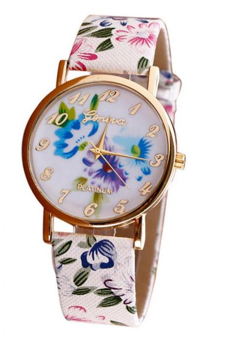 Flower leather band watch, bracelet watch, vintage watch, retro watch, woman watch, lady watch, girl watch, unisex watch, AP00384
