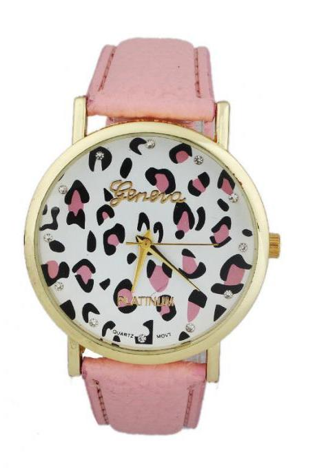 Leopard watch, leopard leather watch, pink leather watch, bracelet watch, vintage watch, retro watch, woman watch, lady watch, girl watch, unisex watch, AP00388