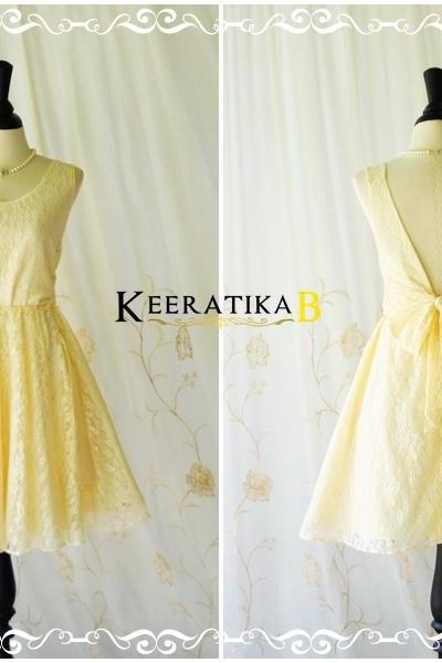 A Party V Charming Dress Vanilla Lace Backless Dress Pale Yellow Lace Cocktail Prom Dress Vanilla Lace Wedding Bridesmaid Dresses XS-XL