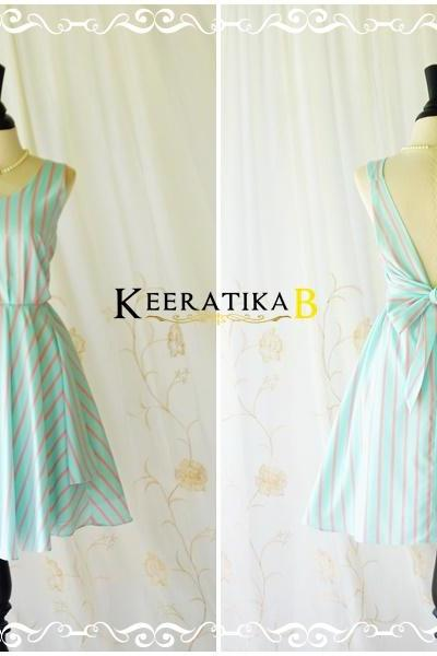 A Party V Charming Backless Dress Pale Blue/Pink Stripe Dress Prom Party Dress Blue Wedding Bridesmaid Dress Blue Stripe Sundress XS-XL