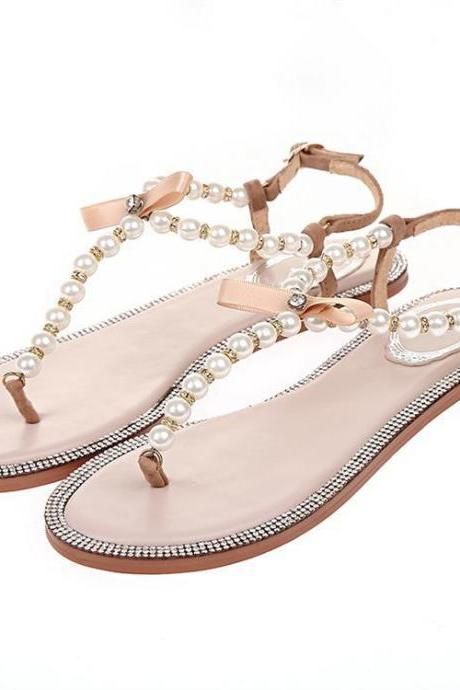 Diamond pearl bow sandals