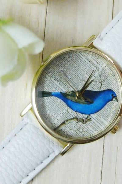 Newspaper bird watch, bird leather watch, white leather watch, bracelet watch, vintage watch, retro watch, woman watch, lady watch, girl watch, unisex watch, AP00393