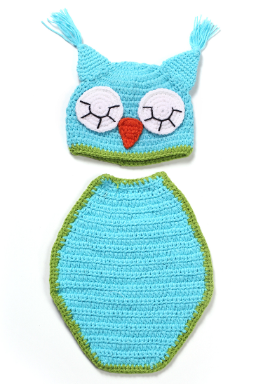 Owl Cloak Hand knitted wool clothes photo prop one hundred days newborn baby photography baby clothes joker pictures clothes