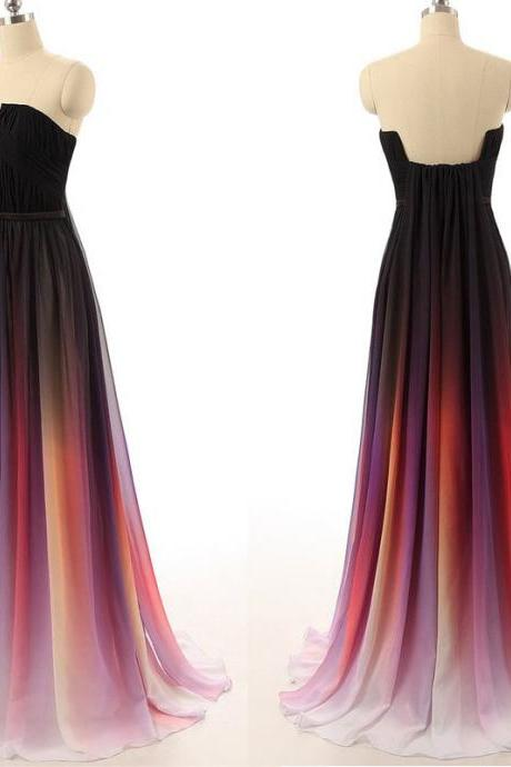 Ombre Strapless Straight-Across Floor Length Chiffon Formal Dress, Prom Dress