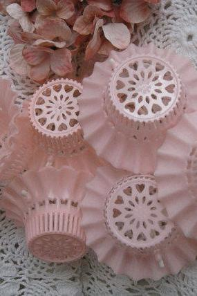Pretty Vintage Pink and White Frilly Cup Cake Holders 1950s