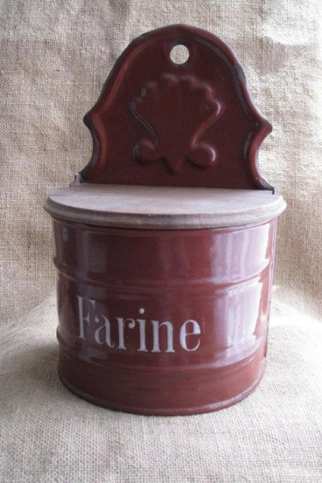 French Enamelware Farine Wall Mounted Canister Vintage Wine Color