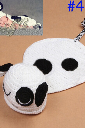 Panda Cloak Hand knitted wool clothes photo prop one hundred days newborn baby photography baby clothes joker pictures clothes