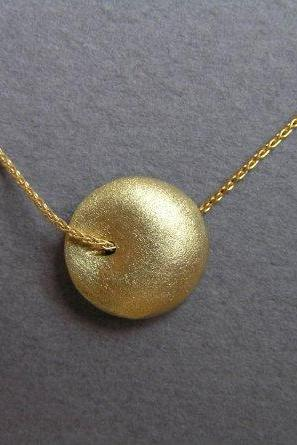 14k Gold Necklace Pendant - Delicate Solid Gold Necklace - Gold Bead Pendant