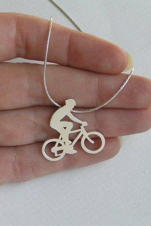 Bicycle Necklace Pendant - Steling Silver - Bicycle Rider Pendant - Hand Cut - Sport Jewelry