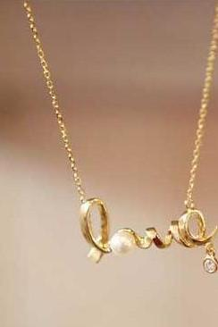Hot Sale Solid 'Love' Shining Rhinestone Necklace