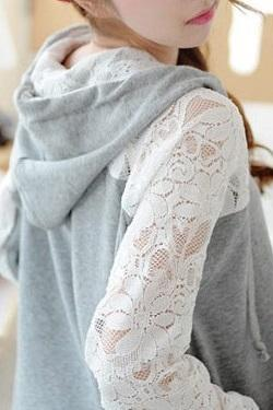 Lace Stitching Casual Loose Cardigan Sweater