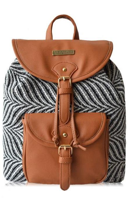 Zebra stripes Drawstring Hasp Travel Bag Satchel Backpack