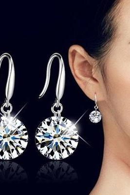 1Pair Fashion Women 925 Sterling Silver Ear Hook Crystal Rhinestone Earrings