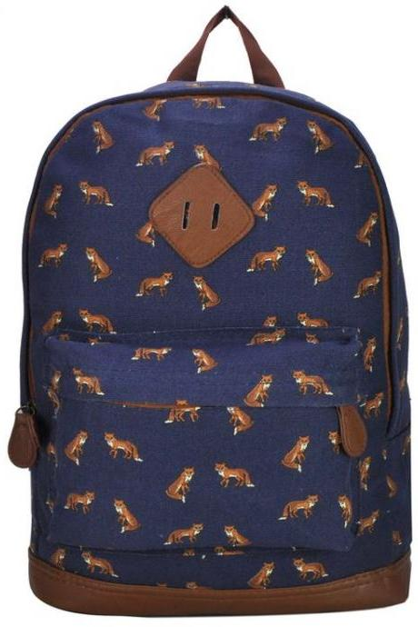 Animal Print Teen School Blue Girl backpack