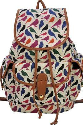 Bird print colorful teen fashion girl backpack