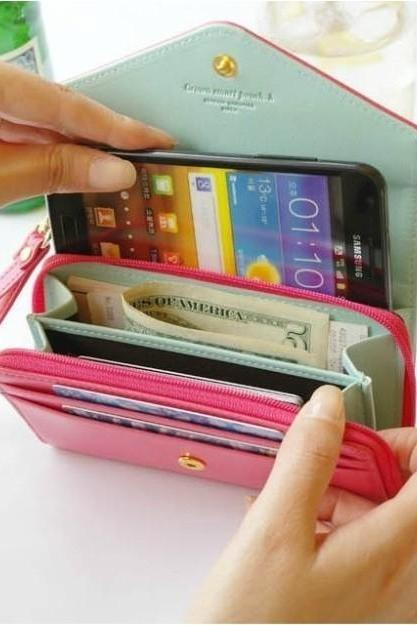 Candy -Colored Leather Wallet Phone Package Iphone4/4s/5