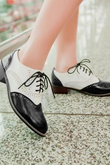 Vintage New Womens Shoes Lace Up Brogues Girls College Oxford Low Flat Heels