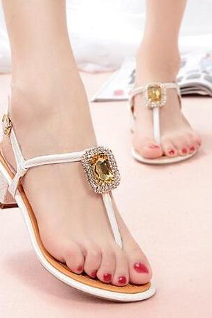 Sweet Bow Pearl Flat Sandals