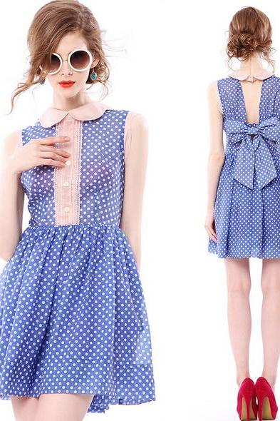 Retro Polka Dot High Neck Skater Dress With Bow Back