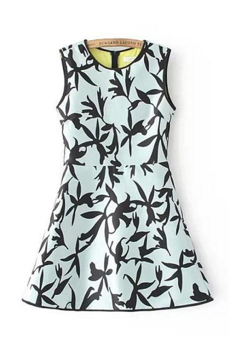 Blue Green Short Summer A-line dress with Bird Silhouette Print