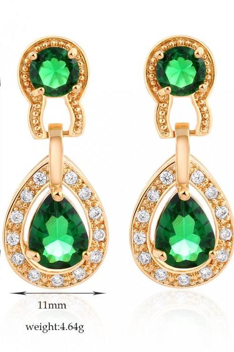 Luxury Vintage Crystal Waterdrop Shiny Pendant Earrings