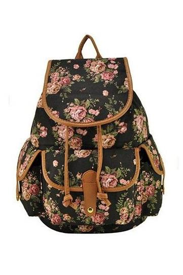Flowers Teen Fashion Girl best friend black Backpack