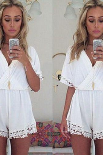 Cute White V Neck Lace Trimmed Romper